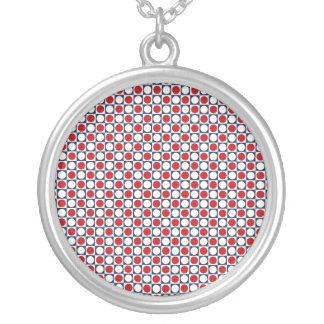 Patriotic Retro Dots Pattern Silver Plated Necklace