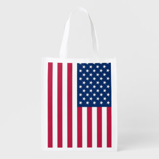 Patriotic reusable grocery bag with Flag of USA
