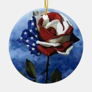 Patriotic Rose Round Ceramic Decoration