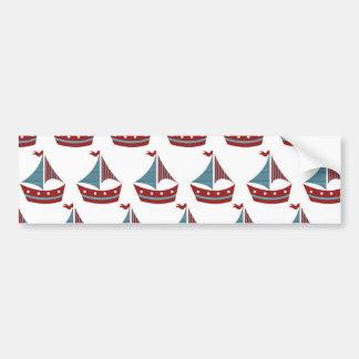 Patriotic Sail Boat Print Bumper Sticker