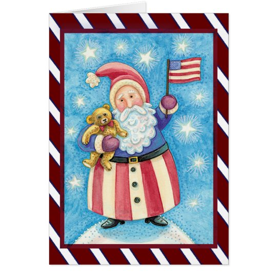 Patriotic Santa christmas Card