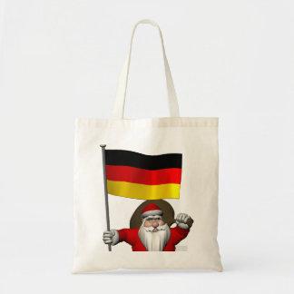 Patriotic Santa Claus With Ensign Of Germany Budget Tote Bag