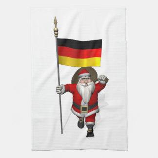 Patriotic Santa Claus With Ensign Of Germany Tea Towel