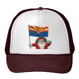 Patriotic Santa Claus With Flag Of Arizona Cap