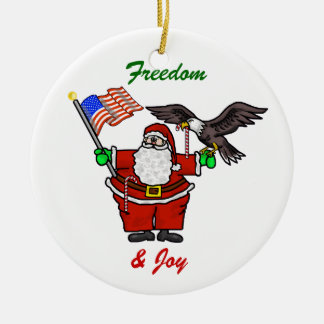 Patriotic Santa Customizable Christmas Ornament