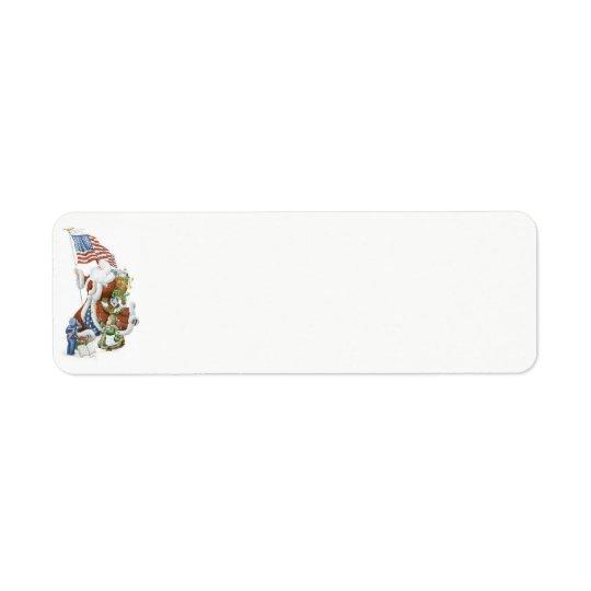 Patriotic Santa Holiday Label