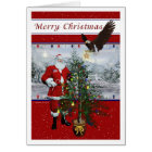 Patriotic Santa Merry Christmas Card