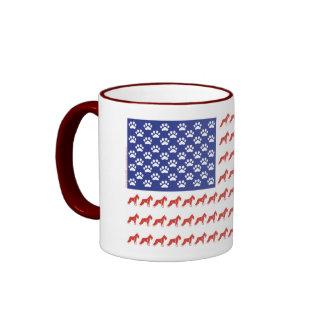 Patriotic Schnauzer dog/USA Ringer Mug