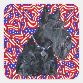 Patriotic Scottish Terrier Square Sticker