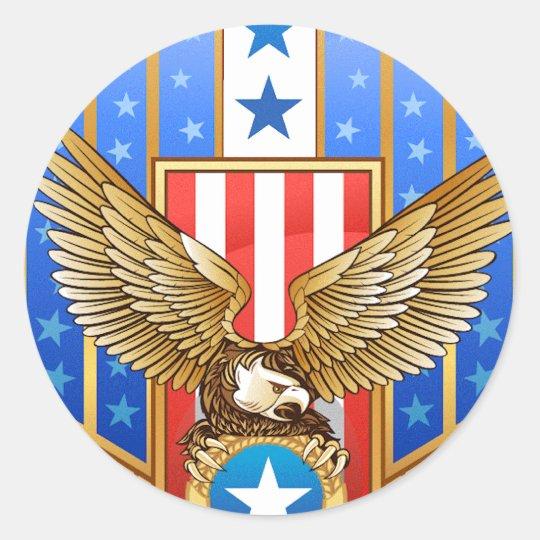 Patriotic Shield Classic Round Sticker