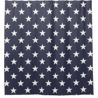 Patriotic shower curtain with american flag stars