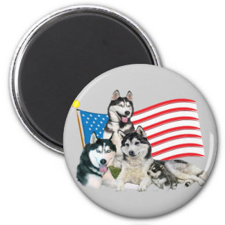 Patriotic Siberian Husky Family 6 Cm Round Magnet