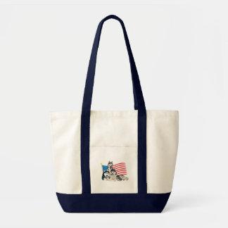 Patriotic Siberian Husky Family Tote Bag