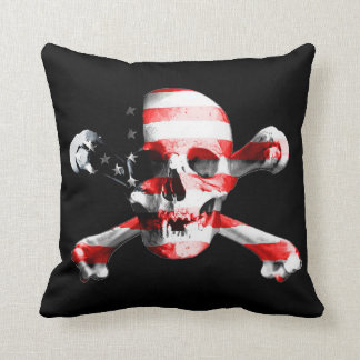 Patriotic Skull and Crossbones Cushion