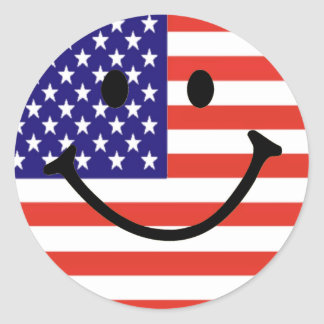 Patriotic Smiley Face Round Stickers
