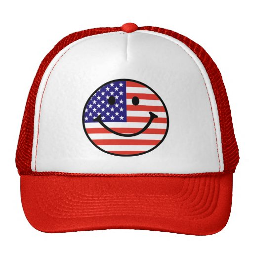 Patriotic Smiley Face Trucker Hat