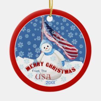 Patriotic Snowman and Flag Christmas Ornament