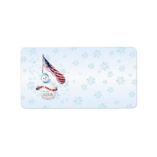 Patriotic Snowman Christmas Address Label