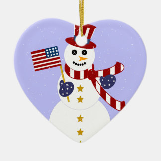 Patriotic Snowman Christmas Heart Ornament