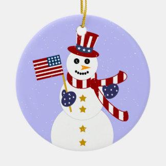 Patriotic Snowman Christmas Round Ornament