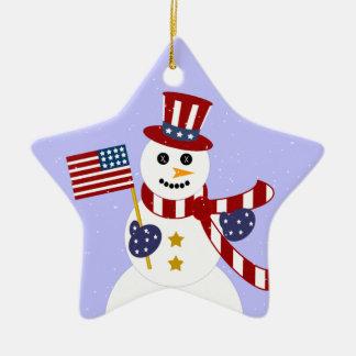 Patriotic Snowman Christmas Star Ornament