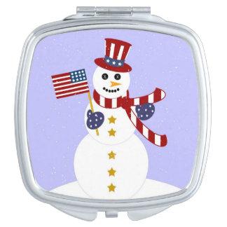Patriotic Snowman Compact Mirror