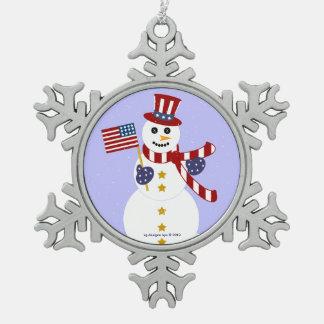 Patriotic Snowman Pewter Snowflake Ornament