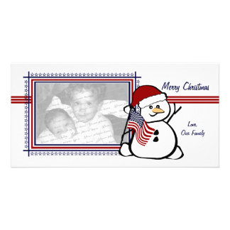 Patriotic Snowman Custom Photo Card
