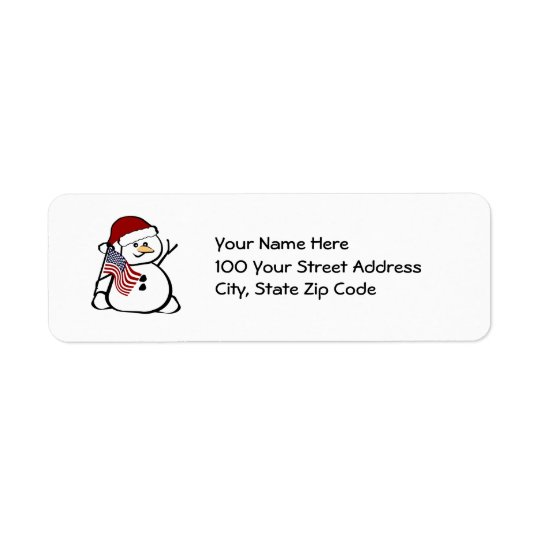 Patriotic Snowman Return Address Label