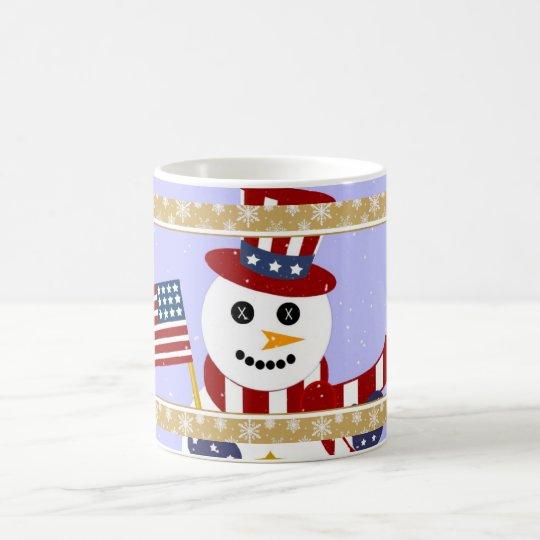 Patriotic Snowman with Flag Mug - Cup