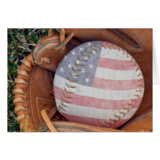 Patriotic Softball in glove Card