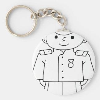 Patriotic Soldier Basic Round Button Key Ring