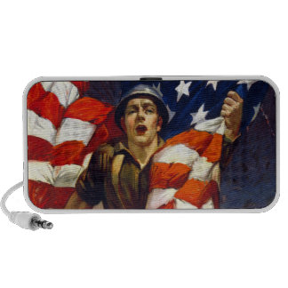 Patriotic Soldier with Flag Laptop Speaker