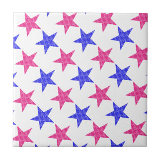Patriotic Stamped Stars Small Square Tile