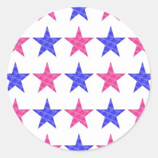 Patriotic Stamped Stars Round Sticker