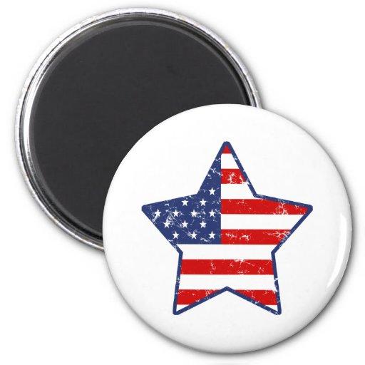 Patriotic Star 6 Cm Round Magnet