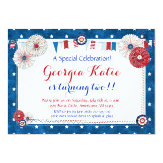 Patriotic Star Birthday Invitations - Country