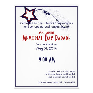 Patriotic Star Light Memorial Day 21.5 Cm X 28 Cm Flyer