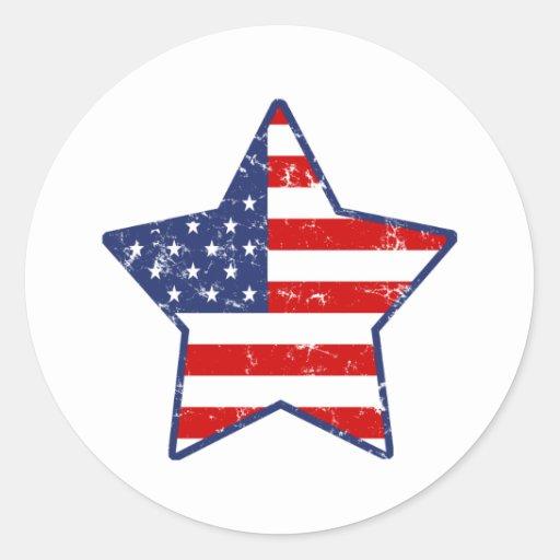 Patriotic Star Round Sticker