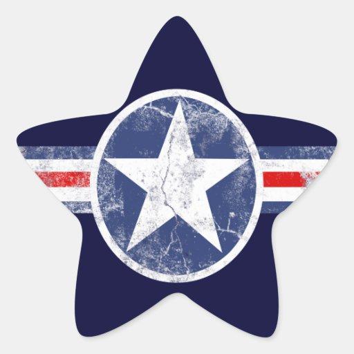 Patriotic Star Vintage Stripes Stickers