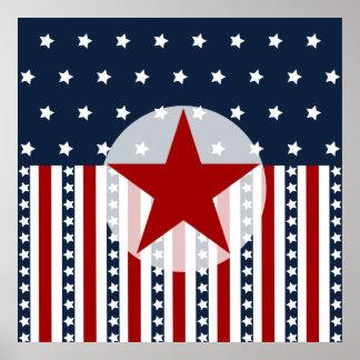 Patriotic Stars and Stripes American Flag Design Poster