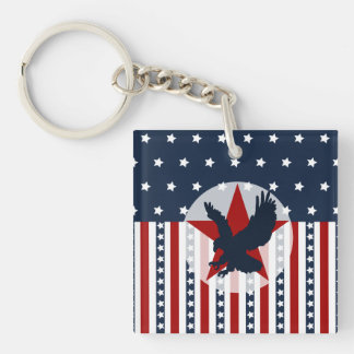 Patriotic Stars and Stripes Bald Eagle American Square Acrylic Key Chain