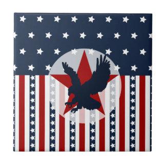 Patriotic Stars and Stripes Bald Eagle American Small Square Tile