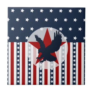 Patriotic Stars and Stripes Bald Eagle American Small Square Tile