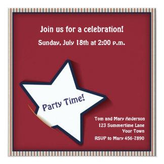 "Patriotic Stars and Stripes 5.25"" Square Invitation Card"