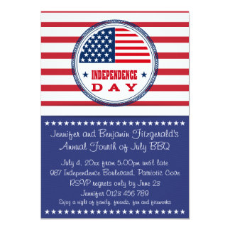 Patriotic Stars and Stripes July 4th BBQ 13 Cm X 18 Cm Invitation Card