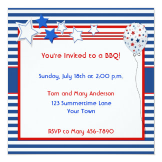 Patriotic Stars and Stripes Party Invitation