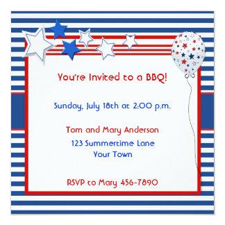 """Patriotic Stars and Stripes Party Invitation 5.25"""" Square Invitation Card"""