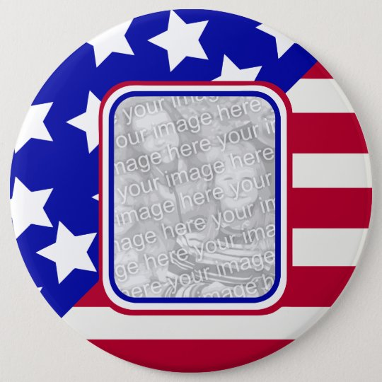 patriotic Stars and stripes photo frame 6 Cm Round Badge