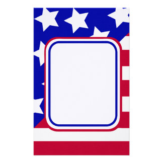 patriotic Stars and stripes photo frame Stationery Design